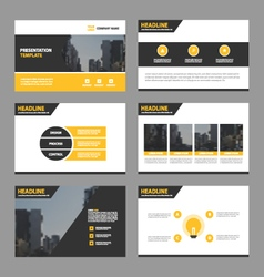Yellow presentation templates infographic set vector