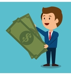 Cartoon man money earnings design isolated vector