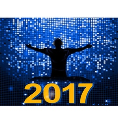 Blue disco wall DJ and 2017 background vector image