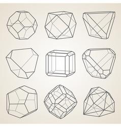 Set of geometric crystals geometric shapes vector