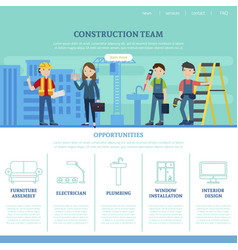 construction team web page template vector image