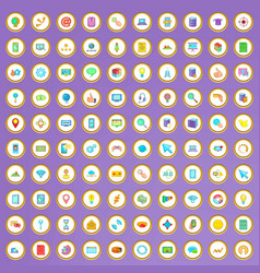 100 internet icons set in cartoon style vector image