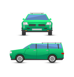 Flat green car vehicle type design sedan style vector