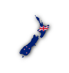 Map and flag of new zealand vector