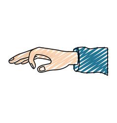Color crayon silhouette hand of symbol of deposit vector