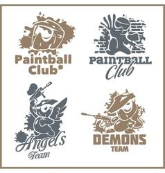 Paintball emblem and logo - vinyl-ready set vector image