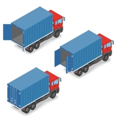 Red truck with shipping containers on board vector