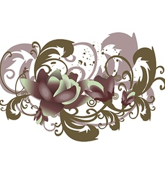 Roses leaves horizontal flowers with branches vector