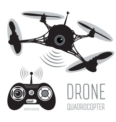 Drone quadrocopter set drone with action camera vector
