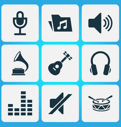 Audio icons set collection of barrel earphone vector