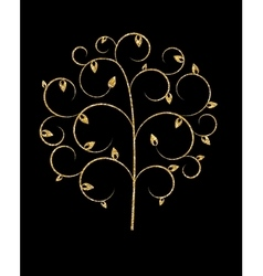Beautuful Golden Tree on Black Background vector image vector image