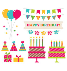 birthday party collection isolated elements vector image