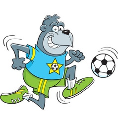 Cartoon gorilla playing soccer vector image vector image