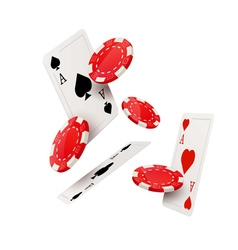Casino poker design template falling poker cards vector