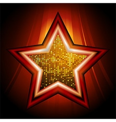 Disco star over glowing stripes vector