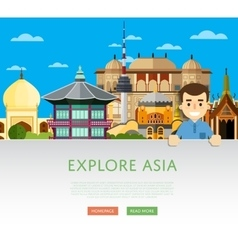 Explore Asia template with famous attractions vector image