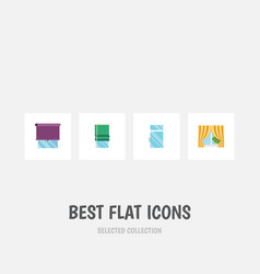 Flat icon window set of clean glass frame vector