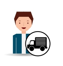 Guy cartoon truck car icon vector