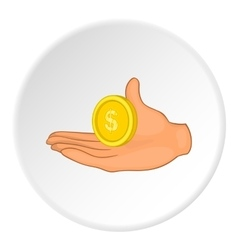 Hand and coin icon flat style vector