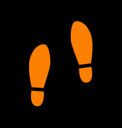 Imprint soles shoes sign orange icon on black vector