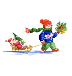 Kid with santa toy and fir tree sliding on snow vector