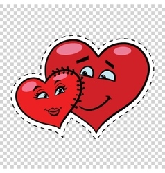 Love couple heart valentine sewn to each other vector