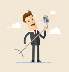 man singer with microphone vector image
