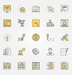 News colorful icons set vector