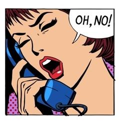 Oh no emotional talk women phone vector