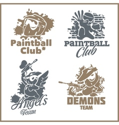 Paintball emblem and logo - vinyl-ready set vector image