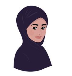 portrait of arab muslim beautiful woman in dark vector image