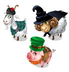 Scottish wizard leprechaun costume on animals vector