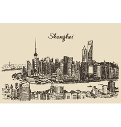 Shanghai City architecture China vintage sketch vector image vector image