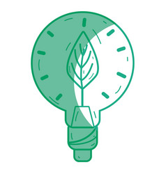 Silhouette bulb with leaf inside to reduce energy vector