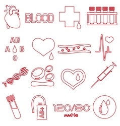 Simple blood outline red icons set eps10 vector
