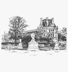 Sketch drawing of the louvre famous place from vector