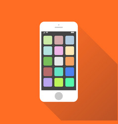 Smartphone icon on orange background with shadow vector