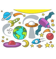 Space cartoon collection on white vector