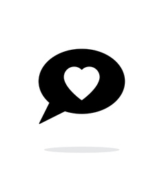 Speech bubble with heart icon on white background vector image