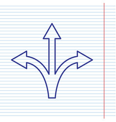 Three-way direction arrow sign navy line vector