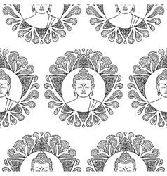 Buddha with Lotus Seamless Pattern vector image