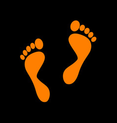 Foot prints sign orange icon on black background vector