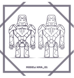 robot mode number hma 01 black vector image