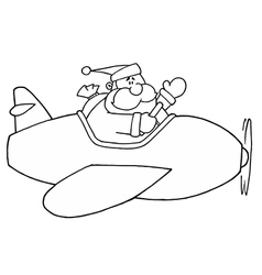 Santa claus flying plan cartoon vector