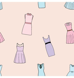 Seamless of fashion dresses for girl vector