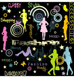Fashion advertiseent with colored women vector
