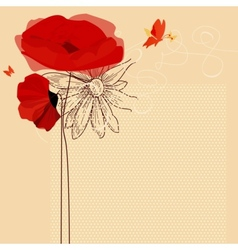Floral invitation poppies and butterfly vector image