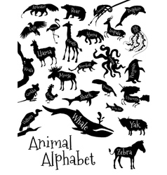 Animal alphabet poster for children animal vector