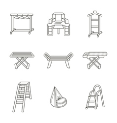 Furniture for laundry flat line icons set vector