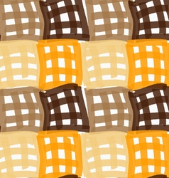 Painted orange and brown checkered marker squares vector image